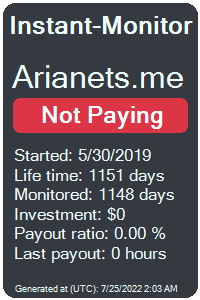 arianets.me Monitored by Instant-Monitor.com