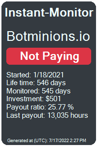botminions.io Monitored by Instant-Monitor.com
