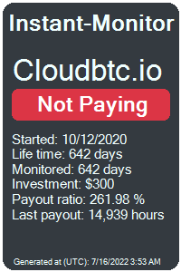 cloudbtc.io Monitored by Instant-Monitor.com