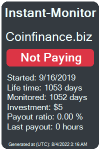 coinfinance.biz Monitored by Instant-Monitor.com