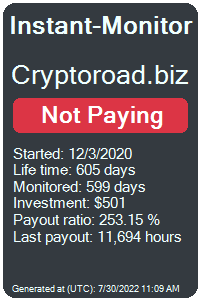 cryptoroad.biz Monitored by Instant-Monitor.com