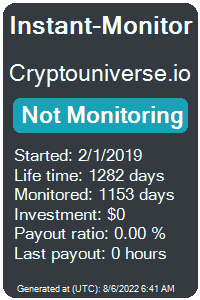 cryptouniverse.io Monitored by Instant-Monitor.com