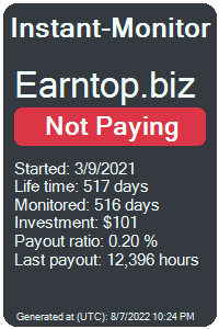earntop.biz Monitored by Instant-Monitor.com