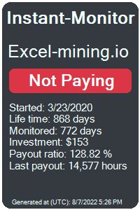 excel-mining.io Monitored by Instant-Monitor.com