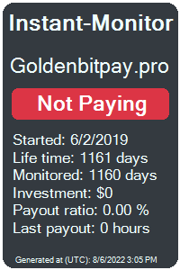 goldenbitpay.pro Monitored by Instant-Monitor.com