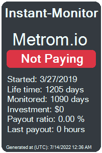 metrom.io Monitored by Instant-Monitor.com