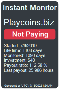 playcoins.biz Monitored by Instant-Monitor.com