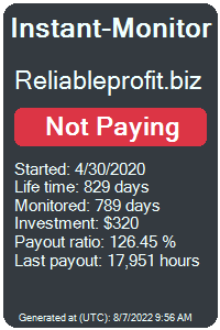 reliableprofit.biz Monitored by Instant-Monitor.com