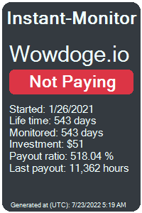 wowdoge.io Monitored by Instant-Monitor.com